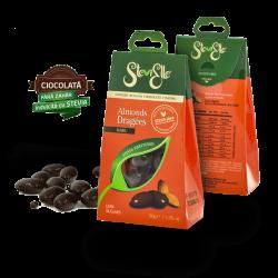 Drajeuri Stevielle bomboane fara zahar migdale in ciocolata belgiana neagră fara zahar indulcita cu stevia rebaudiana bertoni